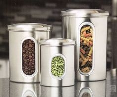 3-Piece Stainless... found at  http://keywebco.myshopify.com/products/3-piece-stainless-steel-canister-storage-set-jars-pots-with-lids-and-window?utm_campaign=social_autopilot&utm_source=pin&utm_medium=pin