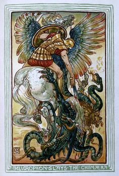 Bellerophon Slays the the Chimaera by Walter Crane for Nathaniel Hawthorne's A Wonder-Book for Girls and Boys.