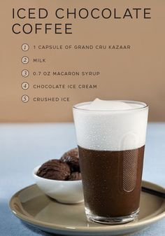 Iced coffee gets a sweet upgrade in this easy recipe from Nespresso. Use Kazaar Grand Cru, chocolate ice cream, and macaron syrup to create this indulgent beverage. The icy coldness of this drink will wake you up while the rich taste of chocolate and espresso soothes your sweet tooth.