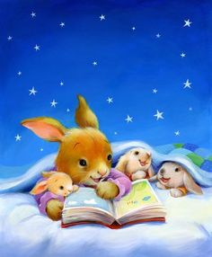 Reading Together Illustration: Polona Lovsin Bunny Art, Cute Bunny, Somebunny Loves You, Beatrix Potter, Bedtime Stories, Children's Book Illustration, I Love Books, Cute Art, Childrens Books