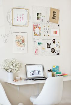 Find small home office desk ideas for your apartment or house. Domino shares small home office desk ideas for those who need to work from home but live in tiny apartments. Home Office Space, Desk Space, Office Workspace, Home Office Decor, Office Spaces, Small Workspace, Kid Spaces, Small Spaces, Workspace Inspiration