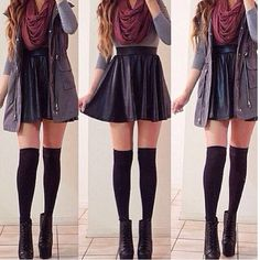 Easy way to casually wear a leather skirt ❤️❤️
