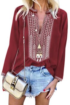 Shop a great selection of Chase Secret Womens Casual V Neck Shirt Boho Print Short Sleeve Tops Loose Blouse (S-XXL). Find new offer and Similar products for Chase Secret Womens Casual V Neck Shirt Boho Print Short Sleeve Tops Loose Blouse (S-XXL). Long Sleeve Tops, Long Sleeve Shirts, Loose Shirts, Blouse Online, Lady, Sleeves, Relax Relax, Bodice, Create