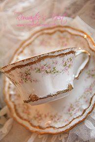 Haviland Limoge Pink Floral Teacup & Saucer set
