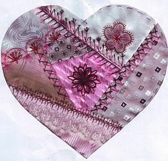 crazy quilting - heart and many other lovely hearts are shown here