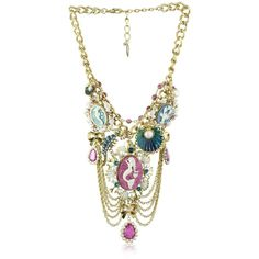 """Betsey Johnson """"Sea Excursion"""" Mermaid Multi-Charm Bib Necklace ($195) ❤ liked on Polyvore featuring jewelry, necklaces, accessories, betsey johnson, medallion bib necklace, long multi strand necklace, bow necklace, chain bib necklace and long chain necklace"""