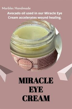 Avocado oil used in our Miracle Eye Cream accelerates wound healing. Please visit our website for more information. Miracle Eye Cream, Wound Healing, Avocado Oil, Marbles, Dark Circles, Skincare, Website, Tips, Handmade