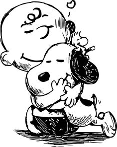 nice Snoopy And Charlie Brown Black White Sketch Coloring Page