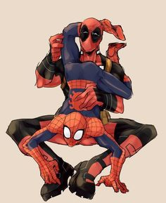 Spidey what are you doing? Spideypool, Superfamily, Deadpool X Spiderman, Marvel Fan, Marvel Avengers, Spaider Man, Yuri, Gay Comics, Marvel Comic Universe