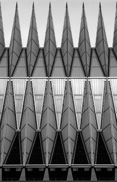 Spikes b/w    Skidmore, Owings, Merrill: Air Force Academy Chapel, Colorado Springs BW