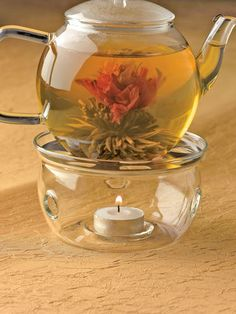 I've seen these before. You place a pod inside the pot and pour hot water or heat it up first like in the pic, then watch the pod grow into a flower and then you drink it. Pretty cool but it kind of freaks me out for some reason.
