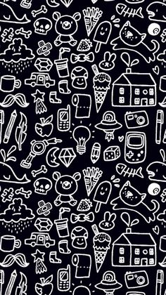 Wallpaper Doodle Black Iphone Kawaii Wallpapers Cute