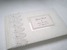 Vintage Guipure Lace & Pearl Wedding Guest Book by PapermemoriesUk, £26.00