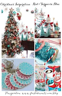 christmas inspiration red turquoise blue - Red And Turquoise Christmas Decorations