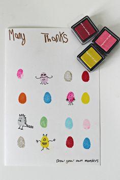 monster fingerprint cards diy birthday thank you Print Thank You Cards, Teacher Thank You Cards, Thank You Cards From Kids, Handmade Thank You Cards, Kids Cards, Diy Cards For Teachers, Teacher Birthday Gifts, Birthday Cards For Mum, Teacher Gifts