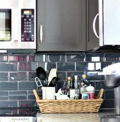 Dramatic colorful blue subway tile in the kitchen kellyelko.com