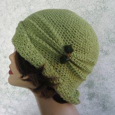 Crochet Pattern Womens FLAPPER HAT Cloche With Side Pinch Pleats PDF Etsy.