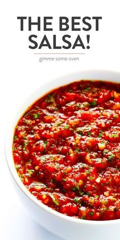 The BEST Salsa Recipe Gimme Some Oven My alltime favorite homemade salsa recipe Its quick and easy to make in a food processor or b Gourmet Recipes, Appetizer Recipes, Vegetarian Recipes, Dinner Recipes, Cooking Recipes, Healthy Recipes, Appetizers, Vitamix Recipes, Blender Recipes