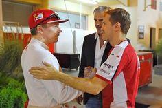 Raikkonen Vettel Arrivabene Bahrain Ferrari