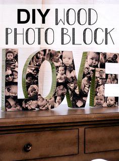 Diy wood photo block #DIY #Christmas Gift For Home