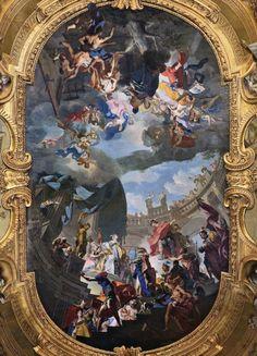 BEAUMONT, Claudio Francesco Aeneas Legend: Aeneas and Dido 1731-33 Fresco Palazzo Reale, Turin