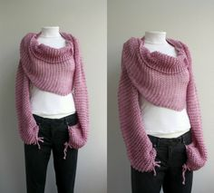 Pink Knit Bolero - Scarf - Shawl - Neckwarmer - gift For Womens - For Girl…