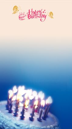 Small Fresh Blue Background Happy Birthday Material H5 Gradient Image