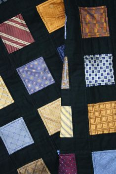 Windowpane quilt from ties