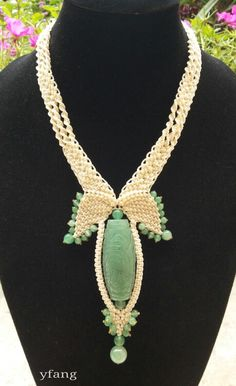Ivory macrame necklace with soft green aventurine..just simple..