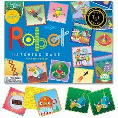 Matching game #Robots #Eeboo from www.kidsdinge.com  https://www.facebook.com/pages/kidsdingecom-Origineel-speelgoed-hebbedingen-voor-hippe-kids/160122710686387?sk=wall