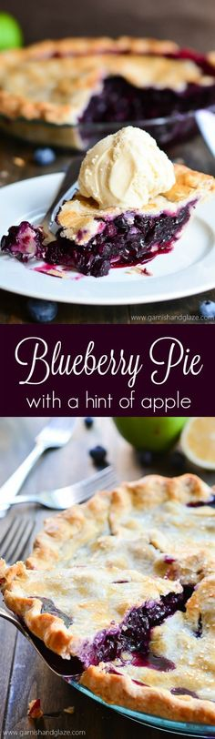 Simple blueberry pie made with fresh berries and a grated apple which thickens ups the blueberry filling to a perfect consistency.