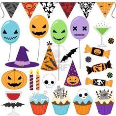 Set of Halloween party elements Stock Photo