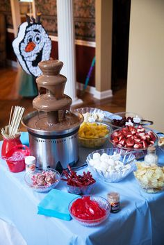 Because chocolate fondue is referenced during the film, Anna made sure to have it available for sweet-toothed guests.