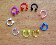 "1 PIECE 16g 5//16/"" Curved 3X3 MM Spike UV Swirl Spiral Acrylic Eyebrow Ring UPICK"
