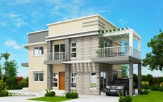 Modern Bungalow House Design With Three Bedrooms - Ulric Home Two Story House Design, Simple House Design, Modern House Design, Single Storey House Plans, One Storey House, Modern Bungalow House, Bungalow House Plans, Bungalow Designs, Duplex House