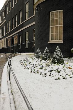 Snow on Downing Street by The Prime Minister's Office. Whitehall, London, England