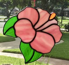 Stained Glass Hibiscus Flower Pink Iridized Suncatcher