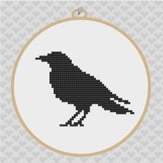 Buy 3 Patterns Get 1 Free Crow Silhouette Cross Stitch by kattuna, $3.50