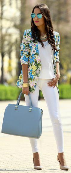 Sheinside Blue & Yellow Floral V Neck Blazer by Styleandblog.com