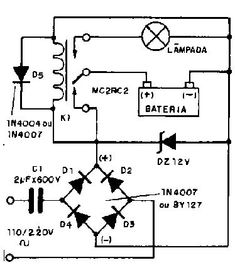 Luz de emergência simples – Eletrônicos Electronics Engineering Projects, Electronic Engineering, Diy Electronics, Electrical Engineering, Electronic Schematics, Electrical Installation, Energy Saver, Circuit Diagram, Solar Charger