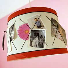 "cool lampshade idea - take elastic and sew it to the lampshade in an ""X"" shape, putting knots behind the lampshade.  then slip photos in behind elastic to show them off - just change them so they don't curl up and get all nasty (or use cheapo prints that it doesn't matteR)"