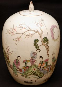 Antique Chinese hand painted enameled porcelain covered ginger jar depicting a scene with 4 court maidens. Calligraphy to verso. Holds red four character stamp mark to bottom with wax seal. 17th/18th century.