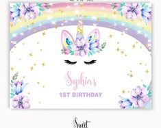 Unicorn Backdrop Instant Download, Rainbow Unicorn Birthday Backdrop Digital, Unicorn Party, Unicorn Decorations Printable, Unicorn Backdrop