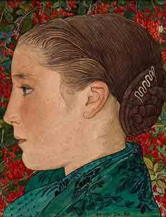 Ernest Bieler , Girl of Wallis (Walliser Mädchen) Portrait of a Young Girl in Profile, 1911, watercolor over pencil and India Ink on paper m...