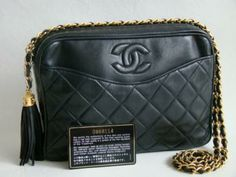 Chanel Black Lambskin Tassel Camera Bag