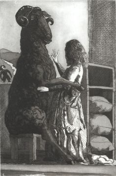 red-lipstick: Paula Rego aka Maria Paula Figueiroa Rego (b. Lisbon, Portugal) - Baa, Baa Black Sheep, 1989 Etching and Aquatint Art Inspo, Kunst Inspo, Inspiration Art, Arte Horror, Horror Art, Art And Illustration, Fantasy Kunst, Fantasy Art, Art Noir