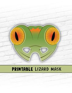 This listing is for a GREEN LIZARD Printable Mask.  You will receive high resolution PDF files that you can print your own paper masks from at home.  PLEASE be sure the mask you are purchasing is the one you want. Due to the nature of Instand Download, you will have access to the files as soon as you check out, so you can not change your mind and request different files. Thanks for your understanding.  Cute creatures are always in style for Halloween! Or how about an animal themed birthday…