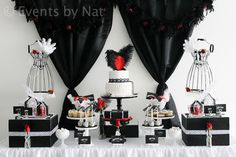 """Roaring 1920's Black, White and Red Dessert Table"""