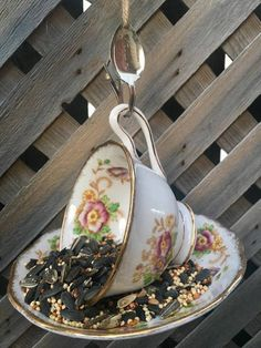 Items similar to Royal Albert Evesham Teacup Bird Feeder with Toronto Souvenir Spoon, tea cup bird feeder, bird feeder, garden decor, royal albert teacup on Etsy Garden Bird Feeders, How To Attract Birds, Perfect Gift For Her, Garden Ornaments, Upcycled Vintage, Royal Albert, Vintage China, Teacup, Gifts For Mom