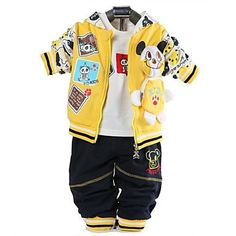 Boys Three-Piece Hoodie, T-Shirt, Trousers Yellow. Only at www.pandadeals.co.uk